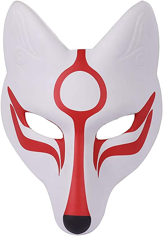 AMOSFUN Masque De Renard Kabuki Kitsune Japonais Masques pour Hommes Femmes Enfants Halloween Mascarade Costume Prop