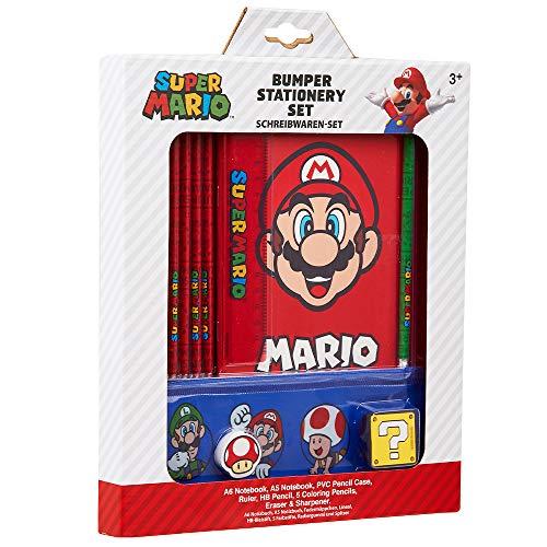Super Mario Briefpapierset voor kinderen, inclusief etui A6 en A5 notitieboekje, kleurpotloden, set kleine liniaal…