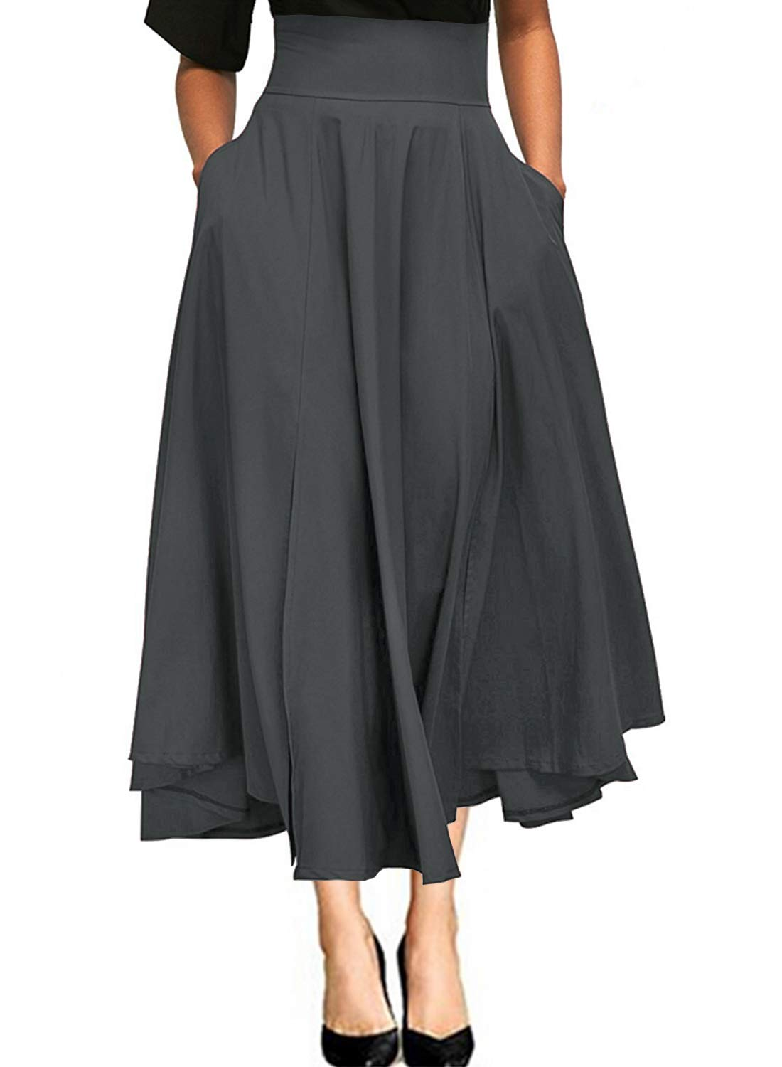 Gray Maxi Skirts for Women Vintage Summer High Waisted A-line Long Flowy Skirt