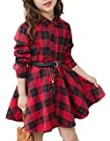 Cromoncent Girls' Fashion Plaid Flared Button Down Shirt Checkered Dress Red 6/7T