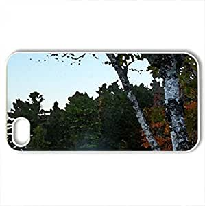 birch tree by a foggy lake - Case Cover for iPhone 4 and 4s (Lakes Series, Watercolor style, White)