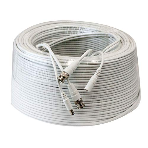 Lknewtrend 300ft RG59 Siamese Combo 20AWG Power Video Coaxial Cable BNC 75Ohm 95% Braid Wire Cord for HD-SDI, AHD, TVI, CVI All CCTV Security Cameras with BNC Connector and 2.1mm Power Jack (White)