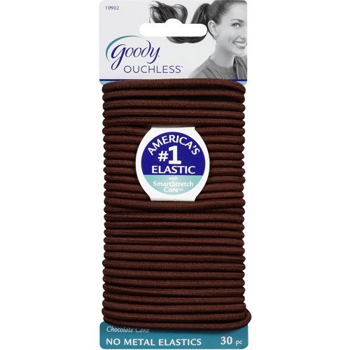 Goody Ouchless No Metal Elastics 4mm Chocolate Cake 30 Per Pack (total 90 count) by Goody Ouchless