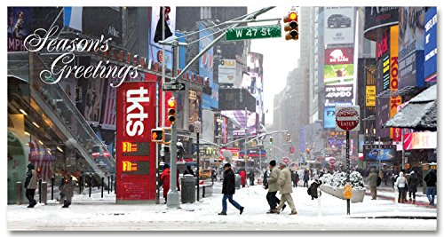 New York Holiday Money Greeting Cards Holders - Snow at Ticket Line on Times Square - Set of 6 (6 Money Cards, 6 Envelopes) Holidays in - Nyc Stores Square In Times