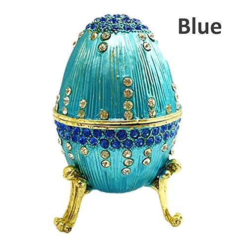 Enamel Diamond Ring Blue Accent (Flickering Easter Egg Ring Box Gift Box Painted Diamond Metal Crafts Gift Decoration)