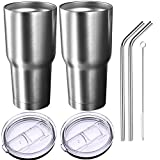 2 Pack Homitt 30 oz Insulated Tumbler Travel Mug, Double Wall Vacuum Stainless Steel Cup Bundle with 2 Lid, 2 Curved Straws, Cleaning Brush, (24 Hours Ice Retention)