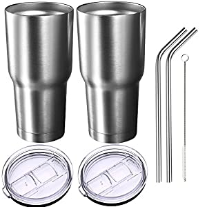 Homitt Pack of 2 Insulated Tumbler Travel Mug, Double Wall Vacuum Stainless Steel Cup Bundle with 2 Lid, 2 Curved Straws, Cleaning Brush, (24 Hours Ice Retention, 6 Hours Hot Retention), 30 oz.