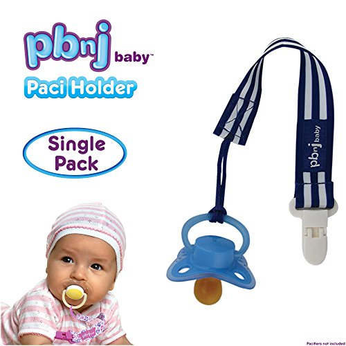 PBnJ baby Pacifier Clip Holder Strap Leash Tether for Boys and Girls with Safe Plastic Clip (Blue Stripe - Single)