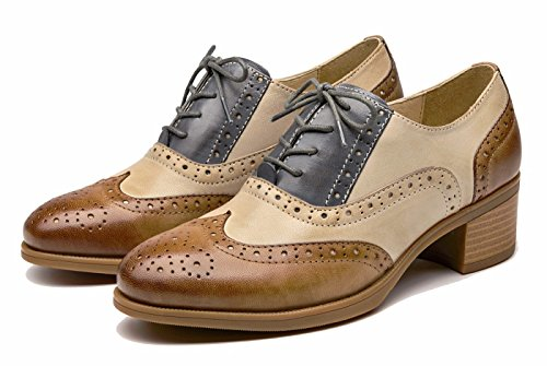 U-lite Womens Mid-heel Flerfarget Perforert Blonder-up Wingtip Lær Flate Oxfords Vintage Oxford Sko Brownblue