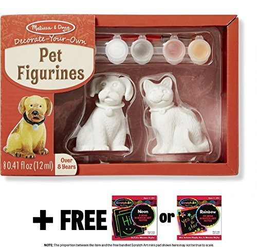 Pet Figurines Decorate-Your-Own Kit + FREE Melissa & Doug Scratch Art Mini-Pad Bundle [88664]