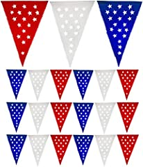 Muunek Patriotic Pennant Banner   Show off your American spirit with our red, white and blue star flag banner. The perfect decoration for 4h of July, Veteran's day, Memorial day, or any patriotic event!  Designed in USA and handcrafted in Me...