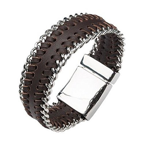 Inox Mens Brown Leather Stainless Steel Curb 8.5