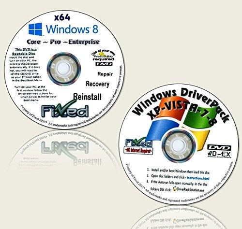 Recovery disc compatible w/ WINDOWS 8.1 x64 (Core ~Pro ~Enterprise) Reinstall Factory Fresh!...