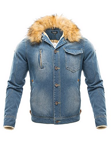 Yeokou Men's Autumn Winter Long Sleeve Down Sherpa Lined Denim Jacket Coat Light Blue
