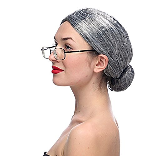 Costume Old Lady Wig Gray Wig Womens Cosplay Wig with Glasses Halloween Cosplay