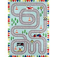 Momeni Rugs LMOJULMJ34LBL2030 Lil Mo Whimsy Collection Kids Themed Hand Carved & Tufted Area Rug, 2 x 3, Light Blue