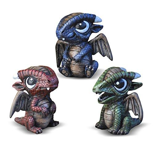 Georgetown Home & Garden Miniature Baby Dragons Assorted Garden Decor, Set of - Statue Dragon Baby