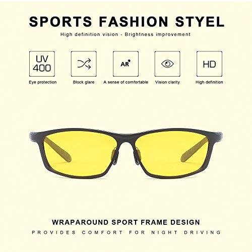 Gafas Amarillas Rectangulares para Conducir de Noche Polarizadas Antideslumbrantes