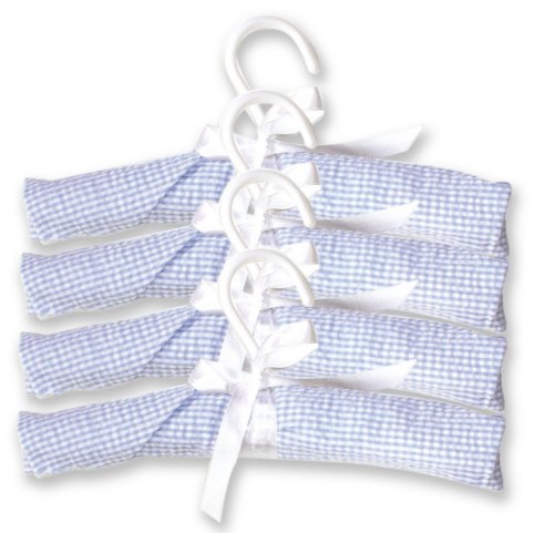 Trend Lab Pack of 4 Hangers, Blue Gingham Seersucker