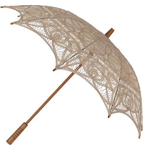 The 1 For U Women's Victorian Lace Parasol Ecru/Light Beige