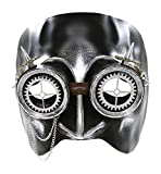 KAYSO INC The Professor V Steampunk Half Face Venetian Masquerade Mask (Rustic Silver)