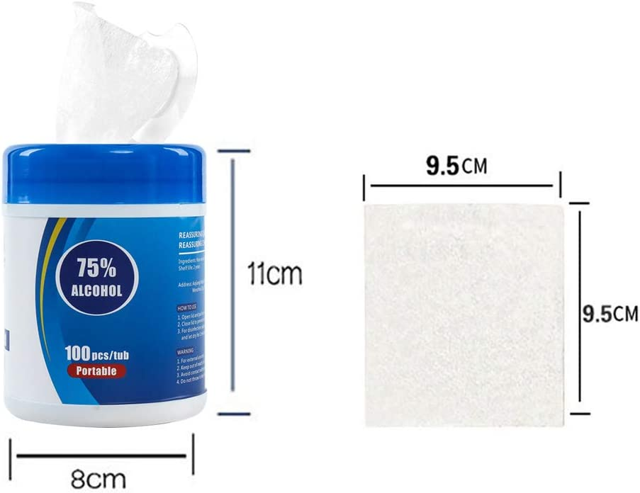 9.5cm*9.5cm Alcohol Wet Wipes 75/% Alcohol Cotton Slices Sterile Gauze Pads Individually Wipes Towel Disposable Wash Sterilization Disinfection Wipes for Outdoor Skin Cleaning Care 1 Box, 100 Pieces