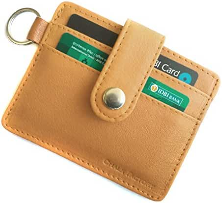 Chalk Factory Leather Credit Card Cover with Multiple Card Slots and Key Ring