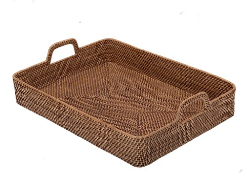 - KOUBOO Rectangular High-Walled Rattan Serving Tray, Honey-Brown
