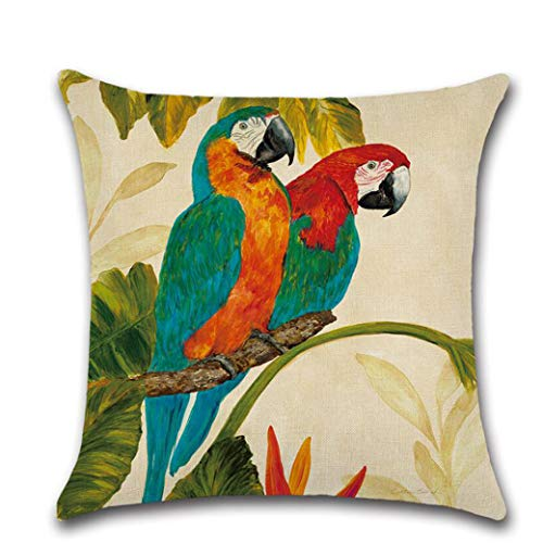 AFABE Cotton Linen Tropical Birds Printed Throw Pillow Covers Parrot Pattern Cushion Cover -
