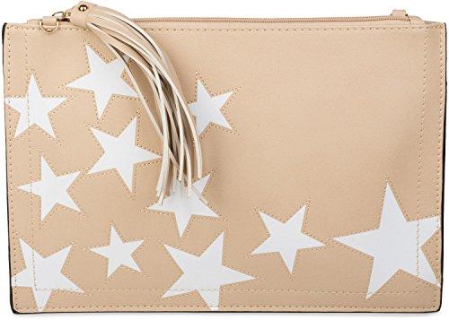 02012075 strap Color star tassel zipper wrist shoulder Black design pendant Beige ladies and clutch upon styleBREAKER pvn7BW7S