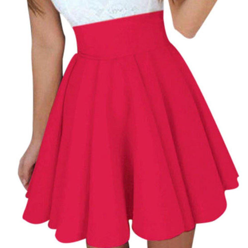 WUAI Womens Skirts Above The Knee High Waist Basic Versatile Stretchy Flared Skater Mini Skirt (Red,Large)