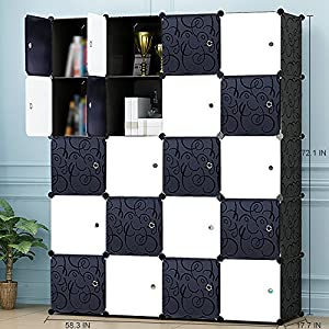 PREMAG Portable Wardrobe for Hanging Clothes, Combination Armoire, Modular Cabinet for Space Saving, Ideal Storage Organizer Cube Closet for books, toys, towels(20-Cube)