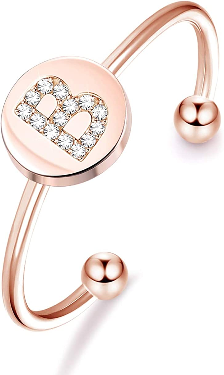 Sllaiss Sets with Swarovski Zirconia Initial Rings for Women 26 A-Z Alphabet Stackable Rings Rose Gold Plated Letter Rings Adjustable Knuckle Engagement Jewelry