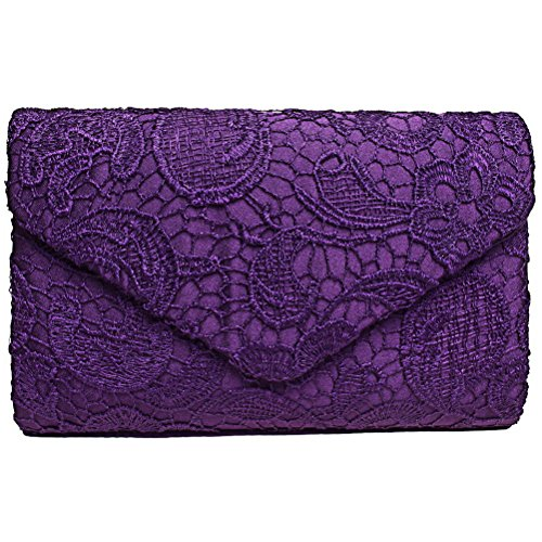 Fashion Road Evening Clutch, Womens Floral Lace Envelope Clutch Purses, Elegant Handbags For Wedding And Party Purple