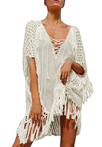 Wander Agio Beach Tops Sexy Perspective Cover Up Dresses Bikini Covers Cover-ups Net White