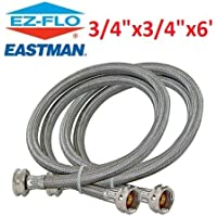 Eastman 80524 Washinig Machine Hoses Burst proof 6 foot Stainless Steel braided 2 pack compatible brands leak proof armoured