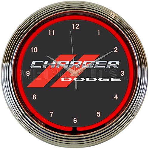 Neonetics Dodge Charger Clock 15 Inch Diameter with Chrome Rim and Red Neon – (Dodge Clock)