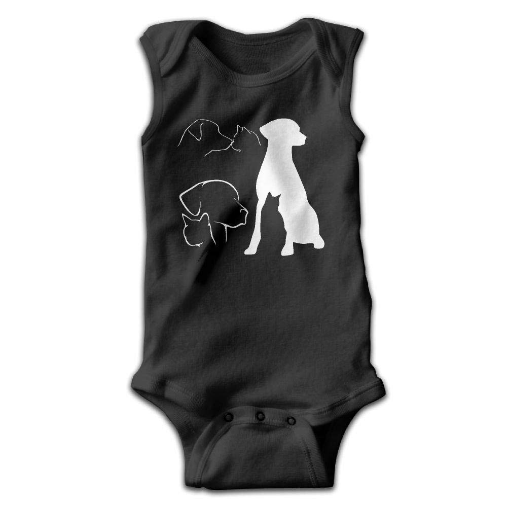 Various Dog and Cat Outlines Baby Newborn Crawling Clothes Sleeveless Onesie Romper Jumpsuit Black