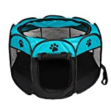 BIGWING Pet Playpen Portable Foldbale Puppy Playpen for Dog Cat Rabbit Hamster Guinea Pig Small Annimals Crate Cage Outdoor Indoor Easy Travel Kennel Tent Blue Size-L