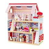 KidKraft Chelsea Doll Cottage Wooden Dollhouse with 16 Accessories, Working Shutters, for 5-Inch Dolls, Gift for Ages 3+