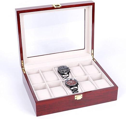QXTT Caja para Relojes De Madera Estuche para Relojes Y Joyeros con 10 Compartimentos para Pendientes Collares Pulseras: Amazon.es: Hogar