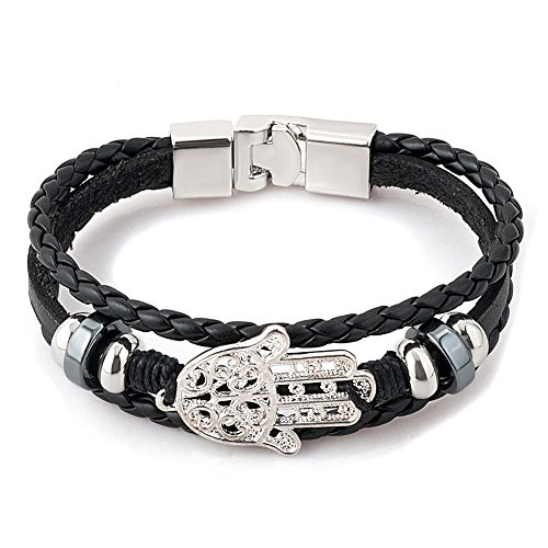 Heart of Charms Mens Leather Bracelets Hamsa Hand of Fatima or Eagle or Religious Cross Skull Bracelets (Hamsa hand of fatima) - Hamsa Leather