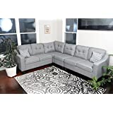 Oliver Smith - Large Light Grey Linen Cloth Modern Contemporary Upholstered Quality Sectional Left or Right Adjustable Sectional 106 x 82.5 x 34