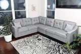 Sectional Oliver Smith - Large Light Grey Linen Cloth Modern Contemporary Upholstered Quality Sectional Left or Right Adjustable Sectional 106