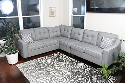 Light Grey Linen Cloth Modern Contemporary Upholstered Quality Sectional Left or Right Adjustable Sectional 106