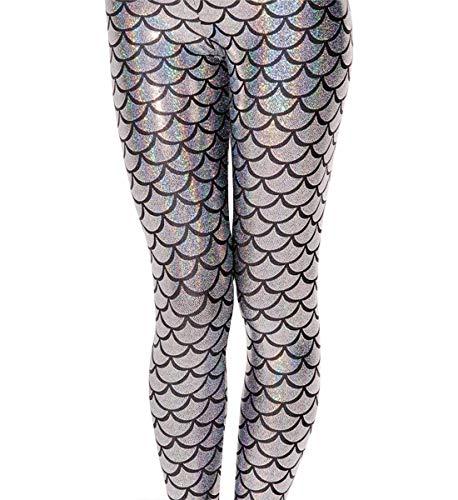 (Alaroo Women Metallic Mermaid Print Scale Leggings Party Costume Silver Plus)
