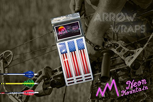 Neon Mountain Arrow Cresting Wraps For Carbon Shafts 12 Pack- Arrow Stickers- 3 Sizes- Multiple Color Options (RWB Flag, 4 Inch)