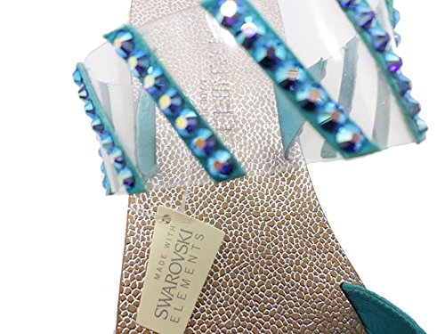 Eddy Daniele 37 EU Sandalias Chanclas Mujer Azul Gamuza Plástico Cristales Swarovski AW487 bPoN18SGW