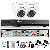 KKmoon 4CH Channel Full 1080N/720P AHD DVR NVR HDMI P2P Cloud Network Onvif Digital Video Recorder + 2800TVL Indoor 24 LEDS Dome Camera + 265ft(20m) BNC Video Power Siamese Cable