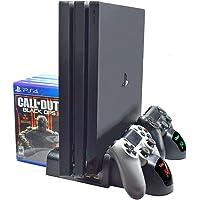 Base Vertical y Ventilador pare PS4, Cooler pare PS4 Estación de Carga Dual de Controles para PlayStation 4 PS4 Slim PS4…